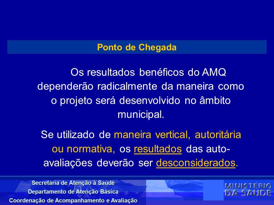 Ponto de ChegadaOs resultados benéficos do AMQ dependerão radicalmente da maneira como o projeto será desenvolvido no âmbito municipal.