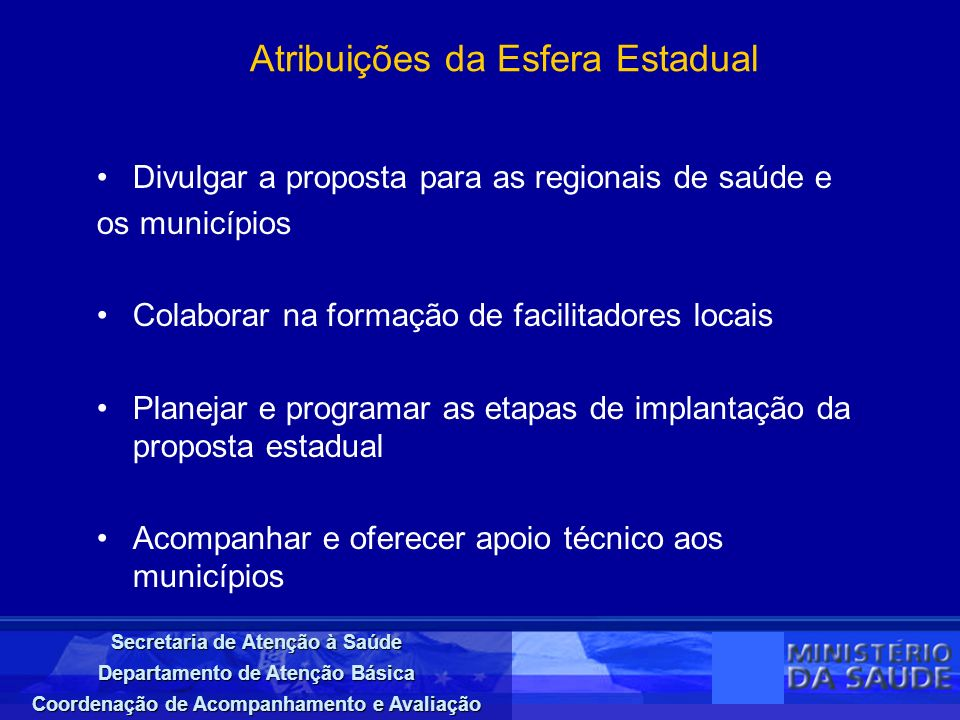 Atribuições da Esfera Estadual