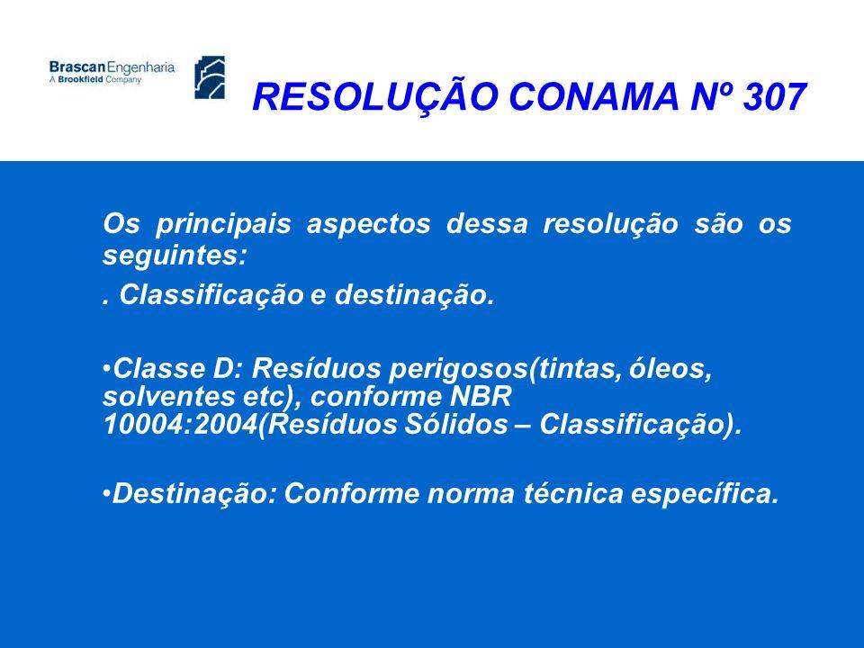 RESOLUÇÃO CONAMA Nº 307 Os principais aspectos dessa resolução são os seguintes: . Classificação e destinação.
