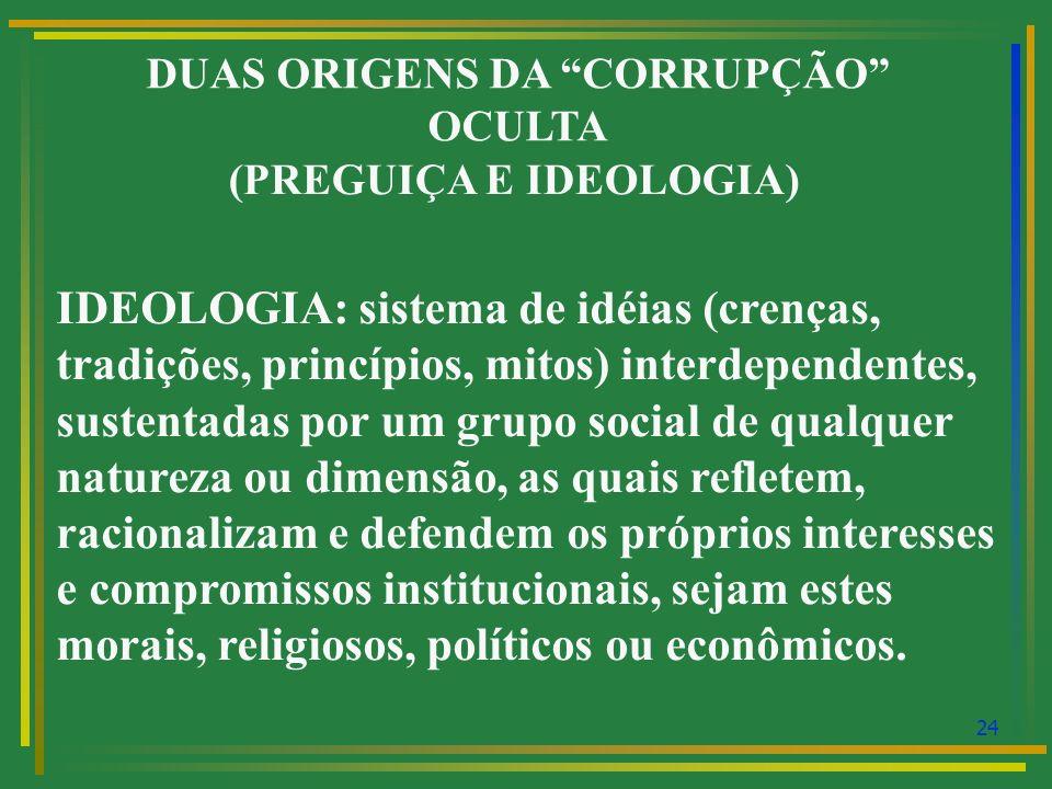 DUAS ORIGENS DA CORRUPÇÃO OCULTA (PREGUIÇA E IDEOLOGIA)