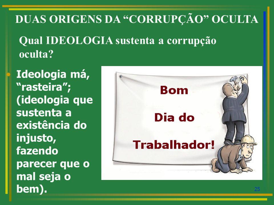 DUAS ORIGENS DA CORRUPÇÃO OCULTA
