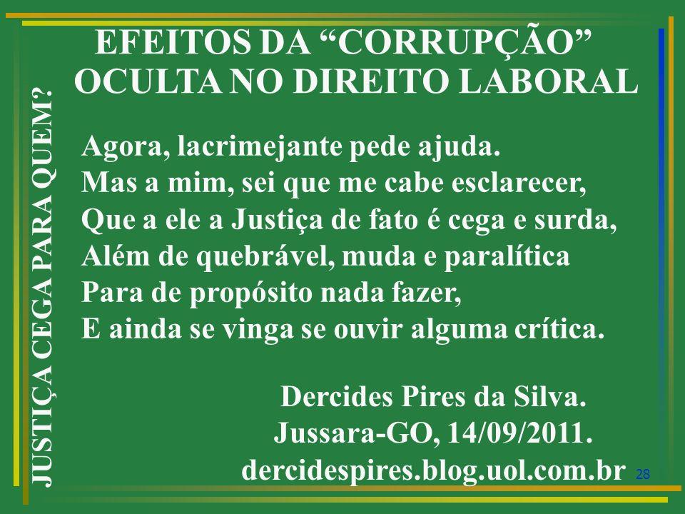 EFEITOS DA CORRUPÇÃO OCULTA NO DIREITO LABORAL