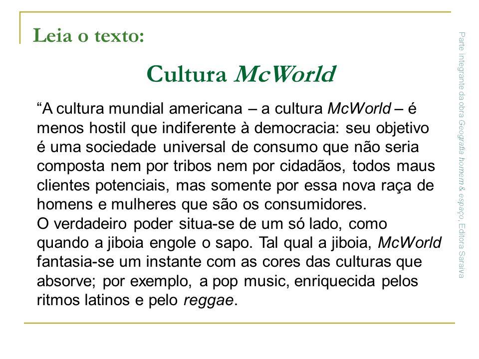 Cultura McWorld Leia o texto: