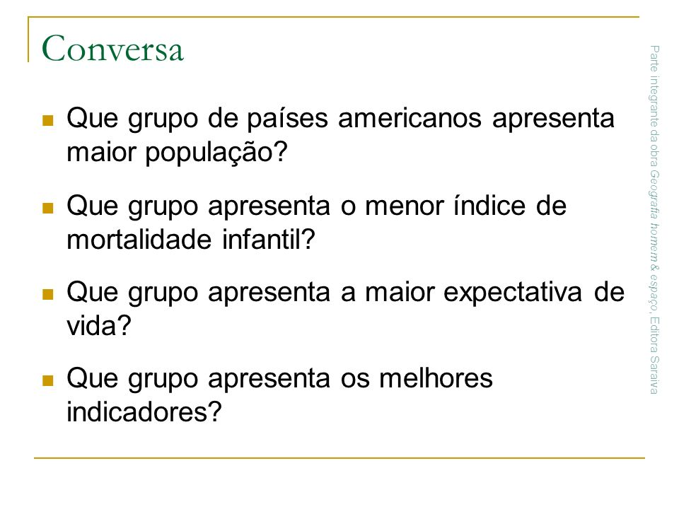 Conversa Que grupo de países americanos apresenta maior população