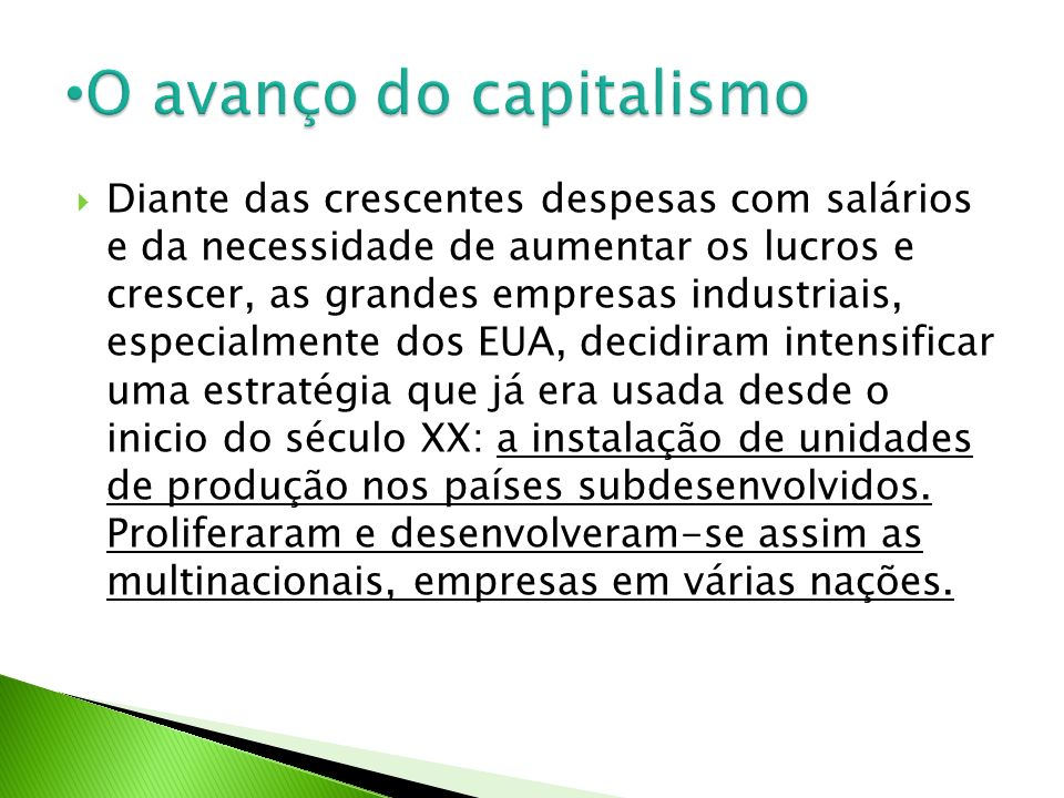 O avanço do capitalismo