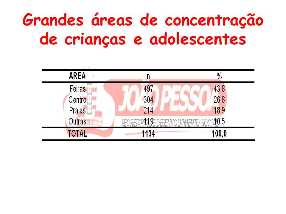 Grandes áreas de concentração de crianças e adolescentes