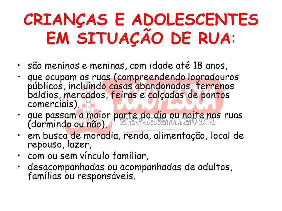 CRIANÇAS E ADOLESCENTES EM SITUAÇÃO DE RUA: