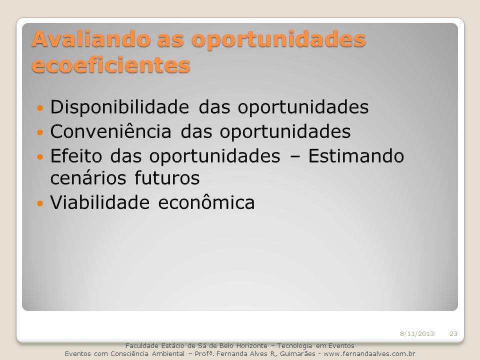 Avaliando as oportunidades ecoeficientes