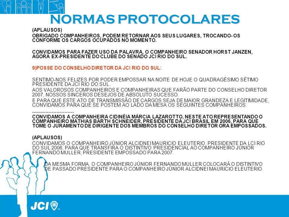 NORMAS PROTOCOLARES (APLAUSOS)