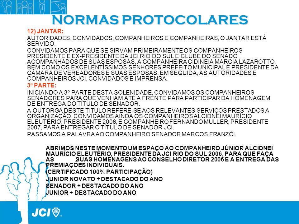 NORMAS PROTOCOLARES 12) JANTAR: