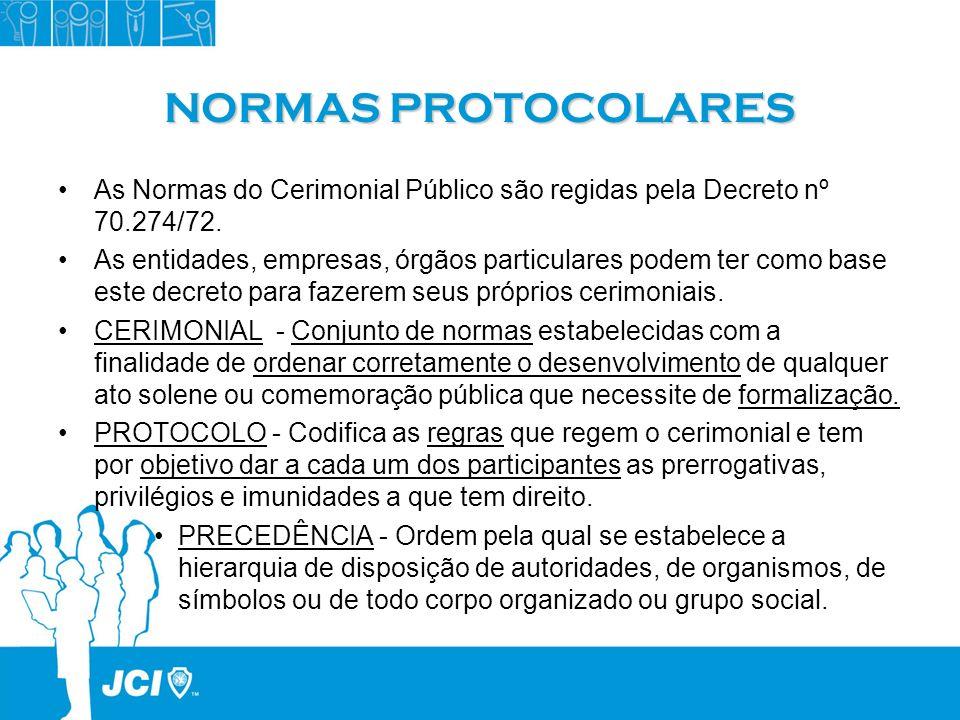 NORMAS PROTOCOLARESAs Normas do Cerimonial Público são regidas pela Decreto nº 70.274/72.