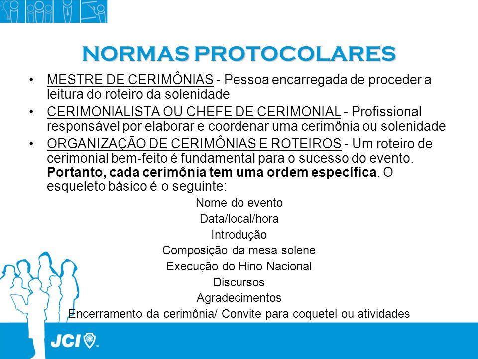 NORMAS PROTOCOLARESMESTRE DE CERIMÔNIAS - Pessoa encarregada de proceder a leitura do roteiro da solenidade.