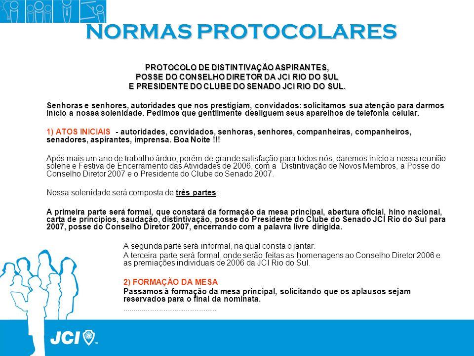 NORMAS PROTOCOLARES PROTOCOLO DE DISTINTIVAÇÃO ASPIRANTES,
