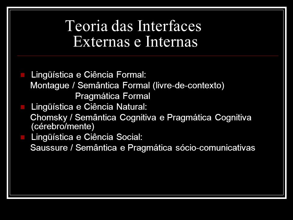Teoria das Interfaces Externas e Internas