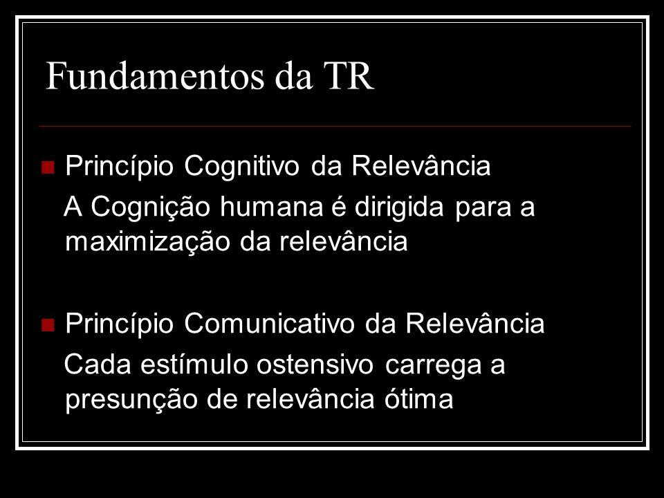 Fundamentos da TR Princípio Cognitivo da Relevância