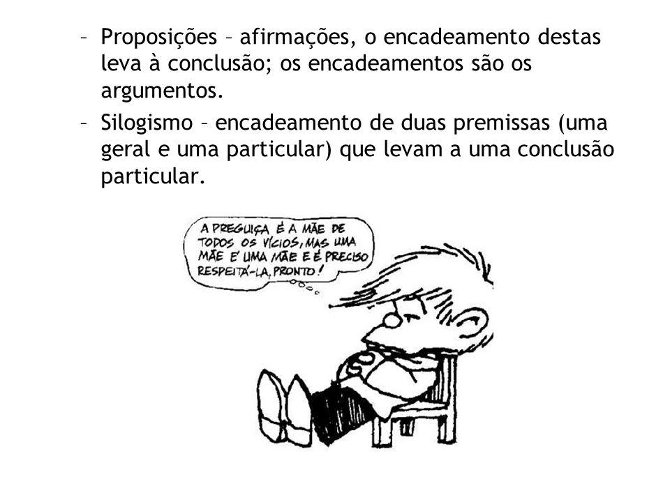 Proposições – afirmações, o encadeamento destas leva à conclusão; os encadeamentos são os argumentos.
