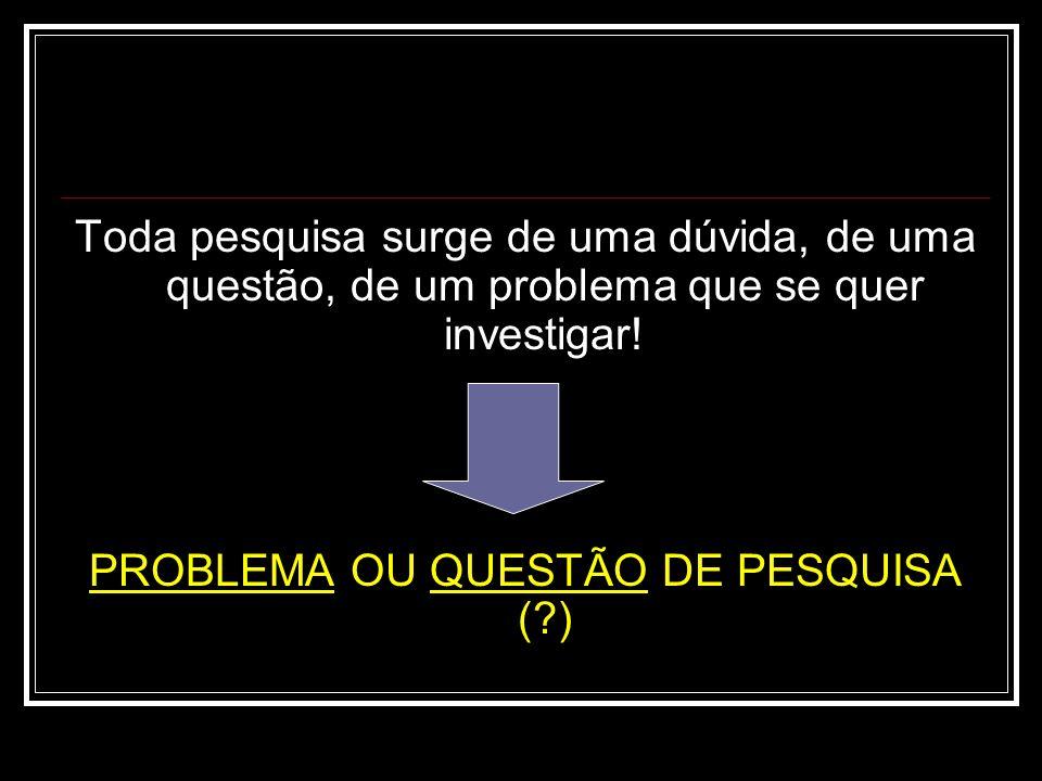 PROBLEMA OU QUESTÃO DE PESQUISA ( )