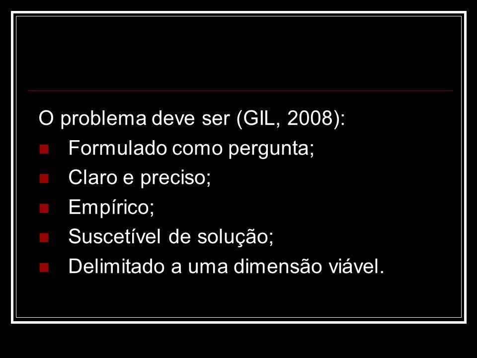 O problema deve ser (GIL, 2008):