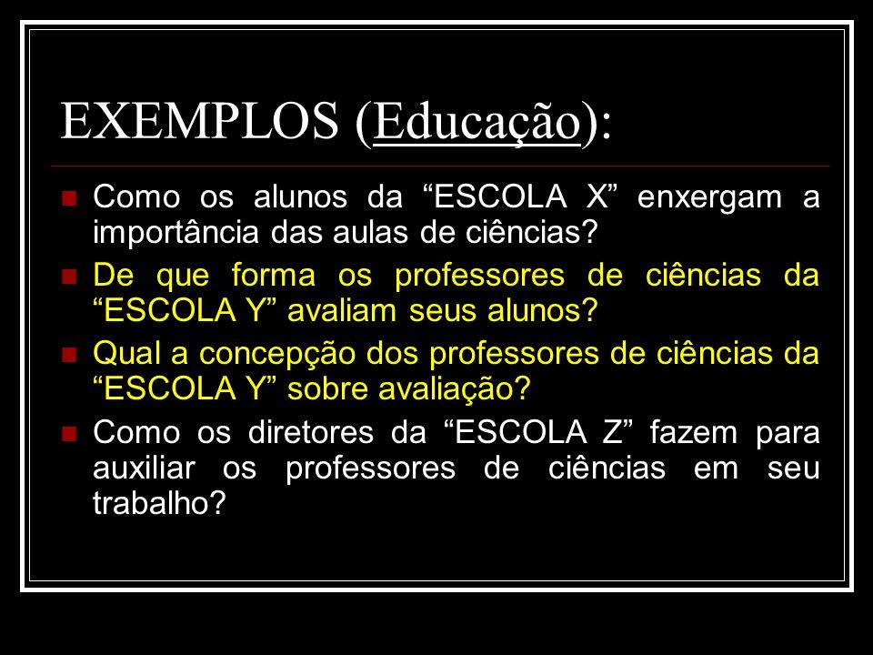 EXEMPLOS (Educação): Como os alunos da ESCOLA X enxergam a importância das aulas de ciências
