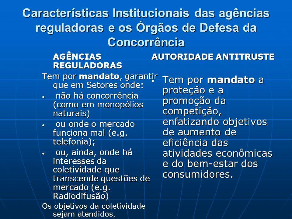 Características Institucionais das agências reguladoras e os Órgãos de Defesa da Concorrência