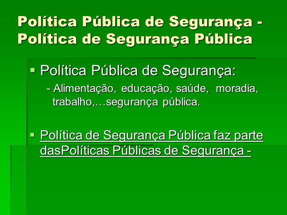 Política Pública de Segurança - Política de Segurança Pública