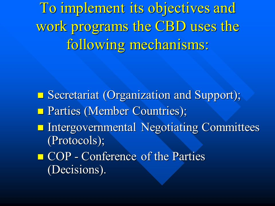 To implement its objectives and work programs the CBD uses the following mechanisms: