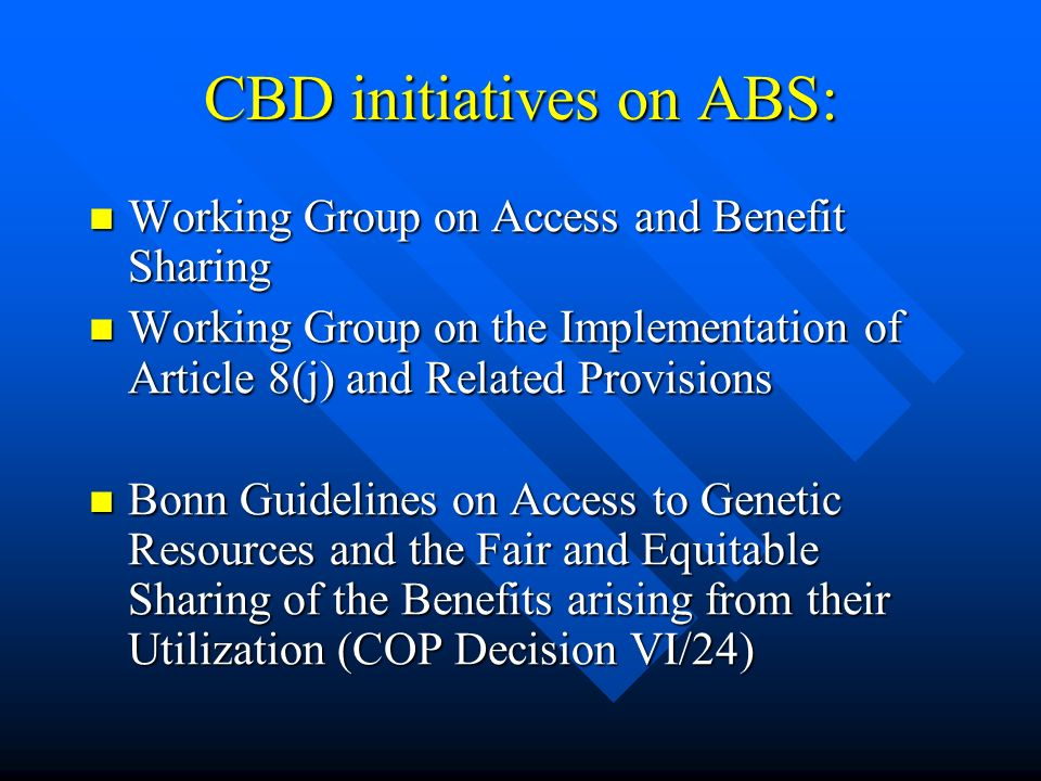 CBD initiatives on ABS:
