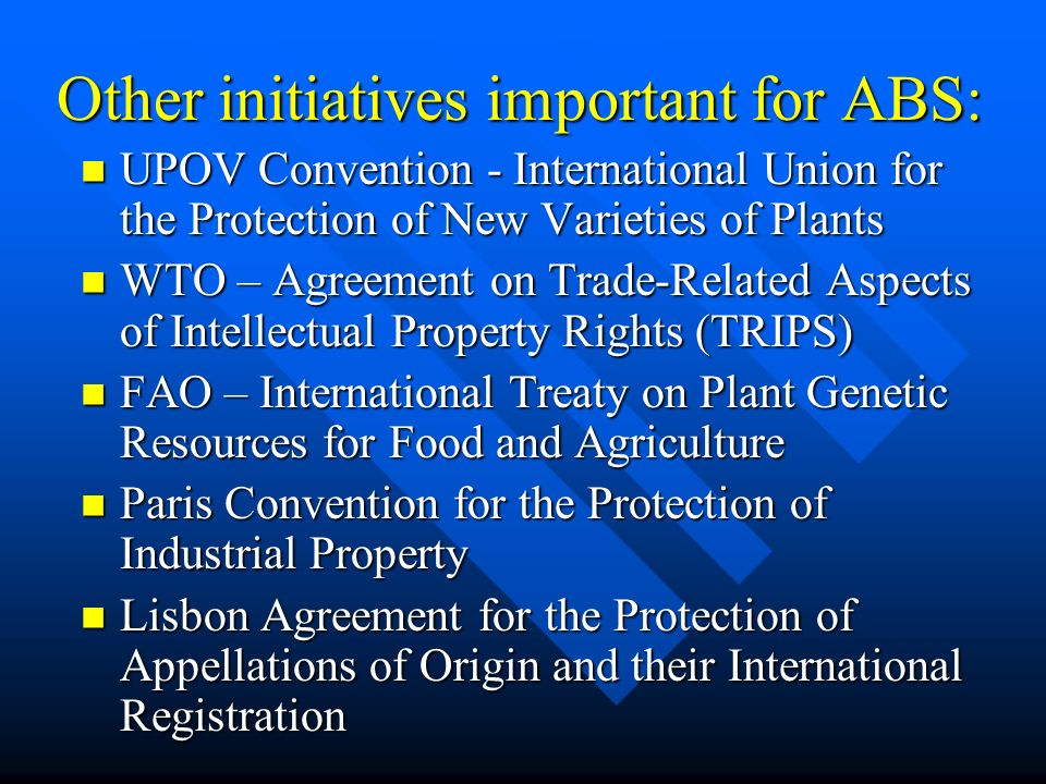 Other initiatives important for ABS: