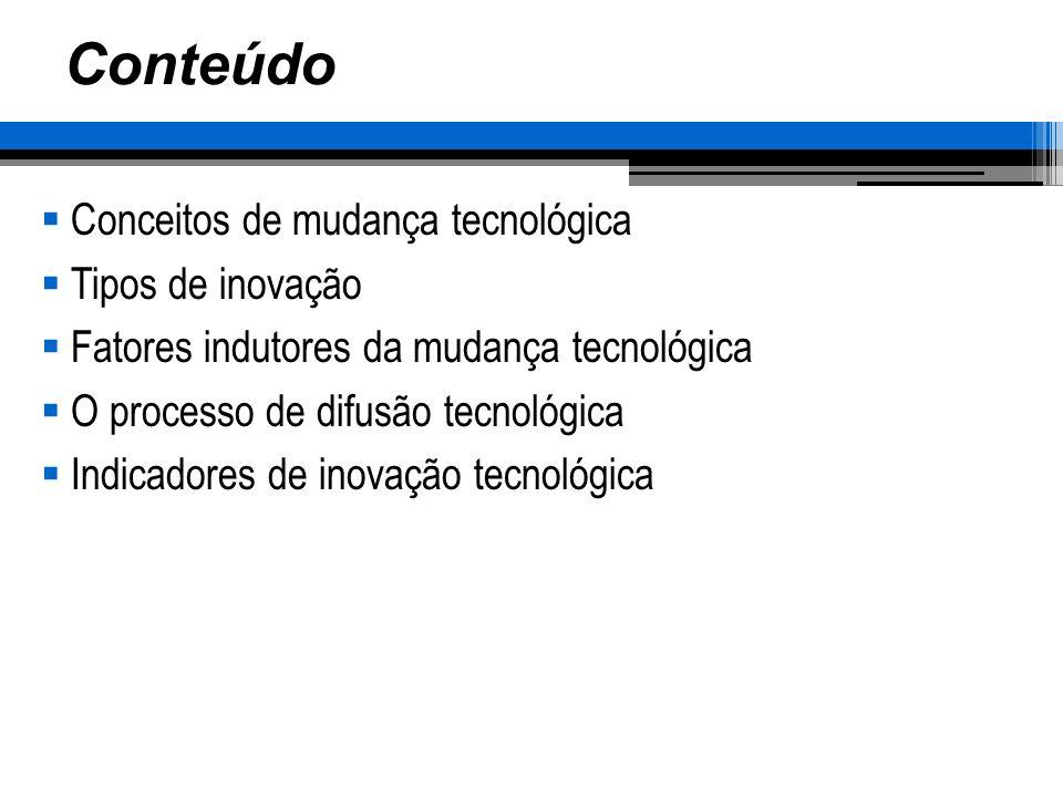 Conteúdo Conceitos de mudança tecnológica Tipos de inovação
