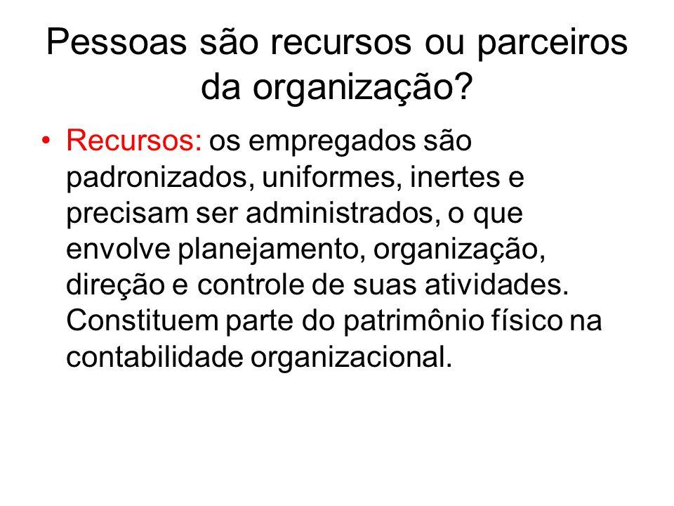 Pessoas são recursos ou parceiros da organização