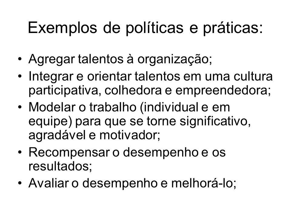 Exemplos de políticas e práticas: