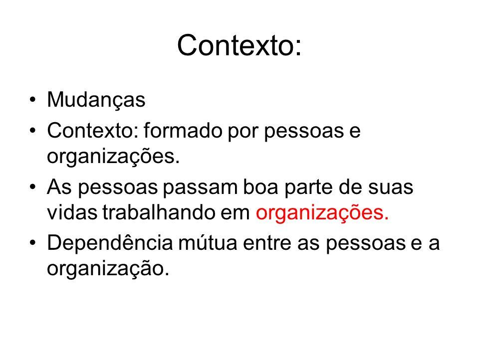 Contexto: Mudanças Contexto: formado por pessoas e organizações.
