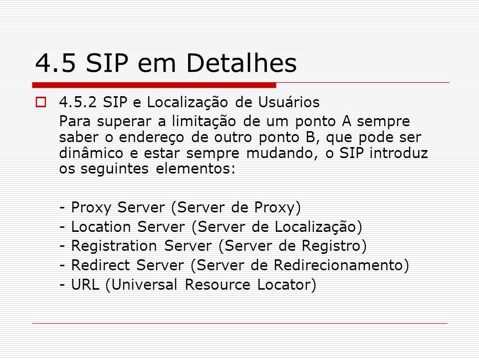 4.5 SIP em Detalhes 4.5.2 SIP e Localização de Usuários
