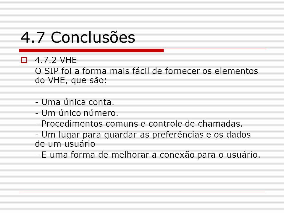 4.7 Conclusões 4.7.2 VHE. O SIP foi a forma mais fácil de fornecer os elementos do VHE, que são: - Uma única conta.