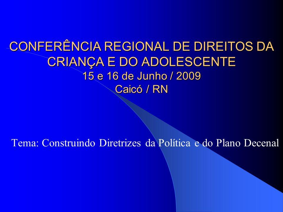 Tema: Construindo Diretrizes da Política e do Plano Decenal