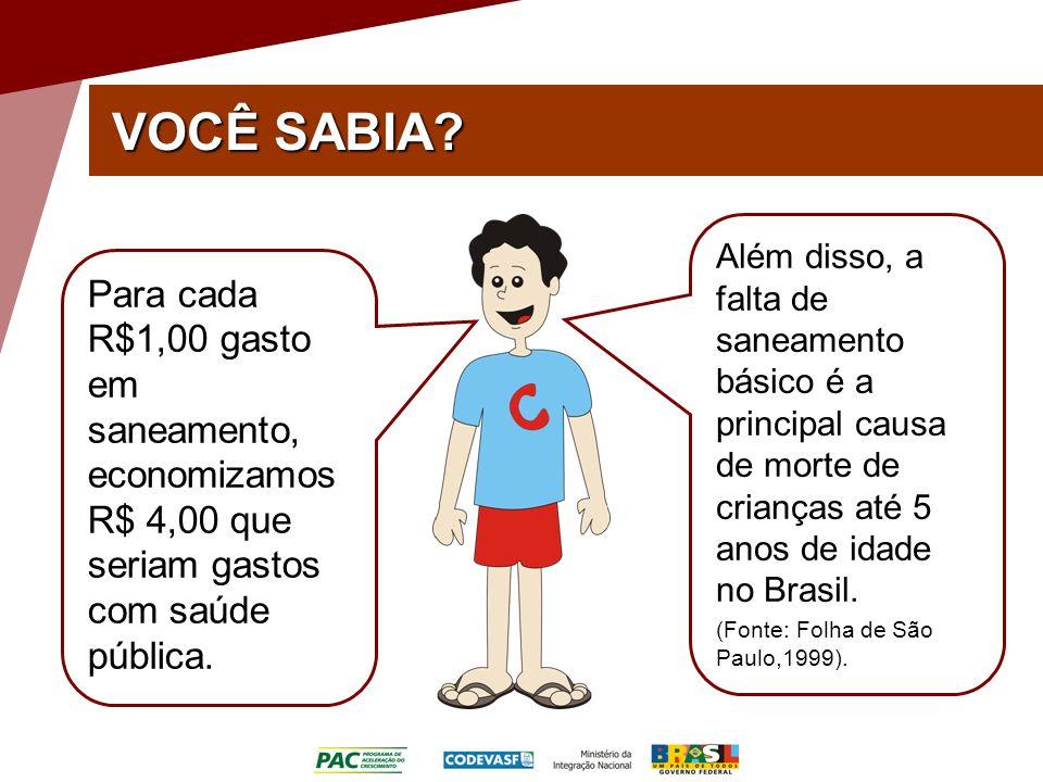 VOCÊ SABIA Além disso, a falta de saneamento básico é a principal causa de morte de crianças até 5 anos de idade no Brasil.