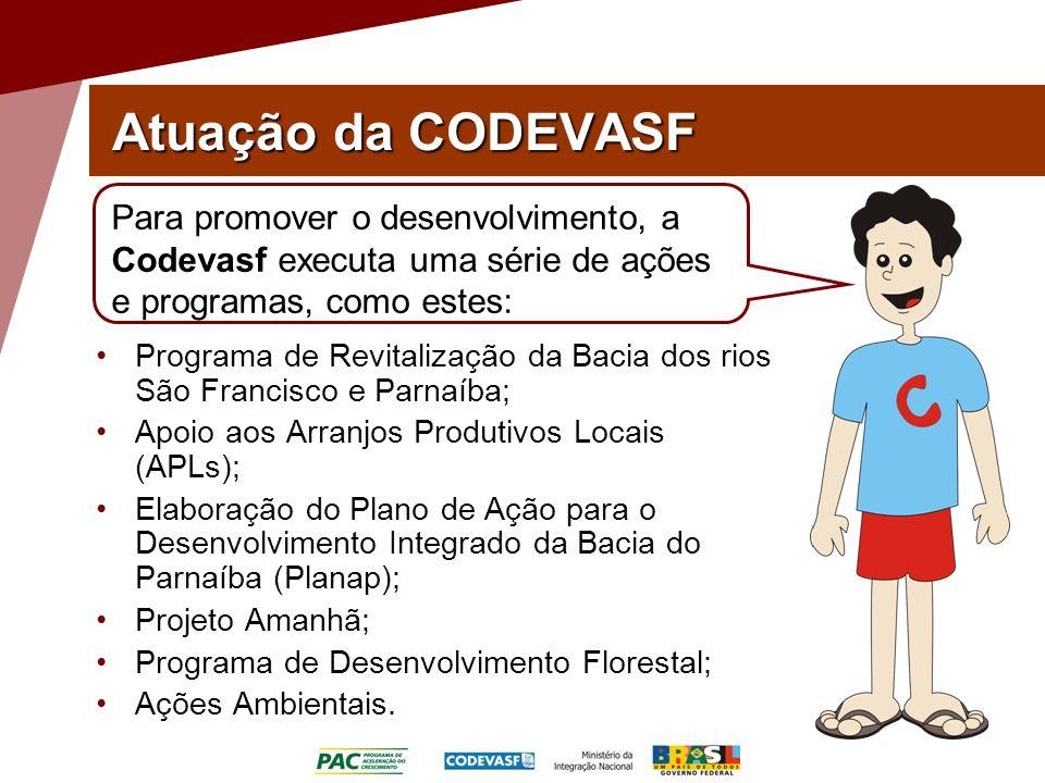 Atuação da CODEVASF Para promover o desenvolvimento, a Codevasf executa uma série de ações e programas, como estes: