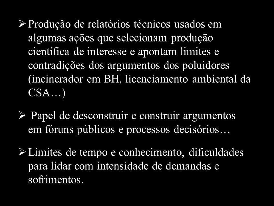 Produção de relatórios técnicos usados em algumas ações que selecionam produção científica de interesse e apontam limites e contradições dos argumentos dos poluidores (incinerador em BH, licenciamento ambiental da CSA…)