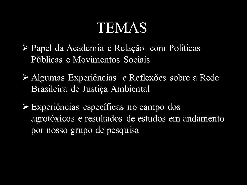 TEMAS Papel da Academia e Relação com Políticas Públicas e Movimentos Sociais.