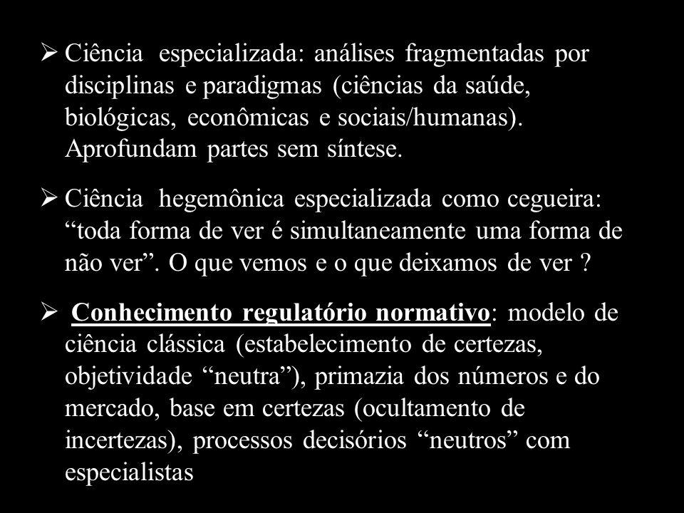 Ciência especializada: análises fragmentadas por disciplinas e paradigmas (ciências da saúde, biológicas, econômicas e sociais/humanas). Aprofundam partes sem síntese.