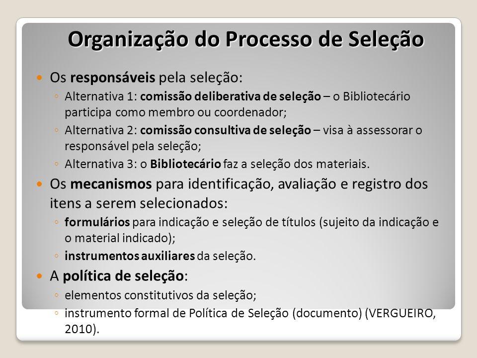 Organização do Processo de Seleção