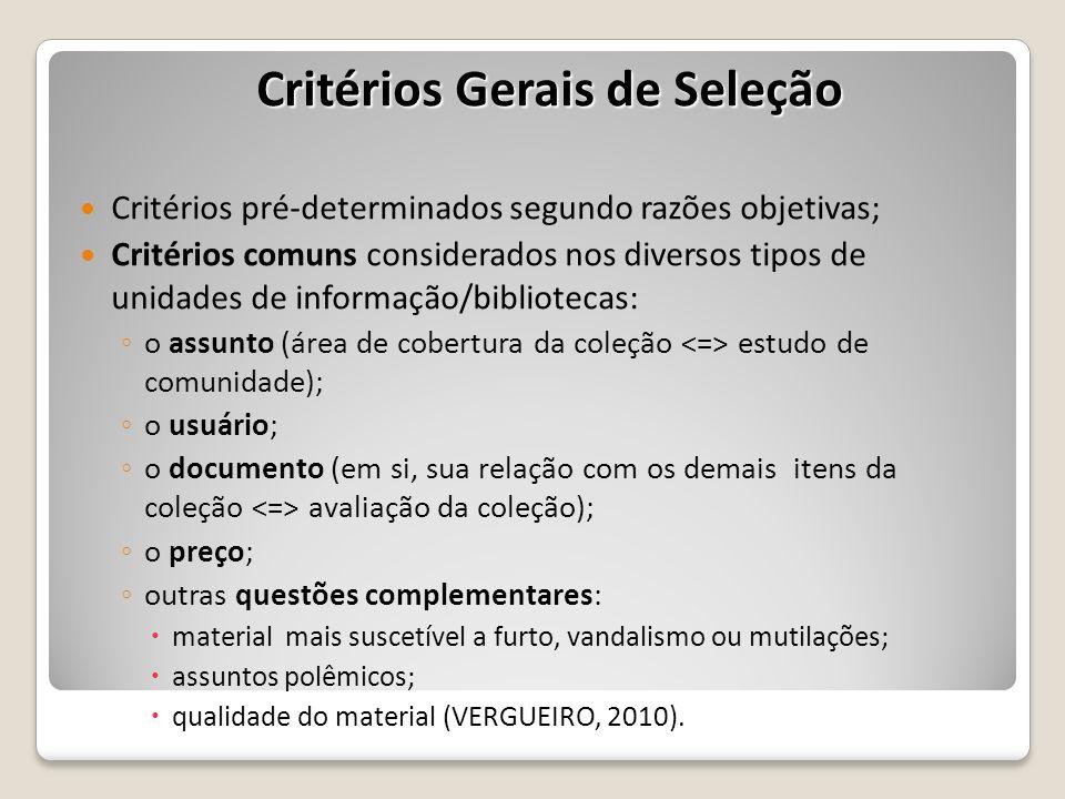 Critérios Gerais de Seleção