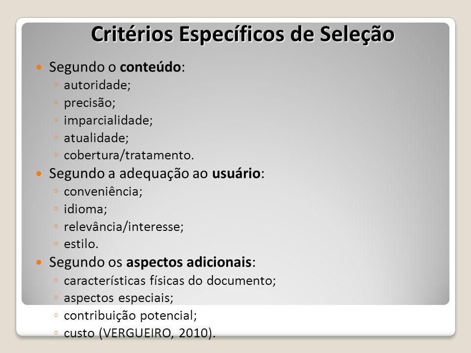 Critérios Específicos de Seleção
