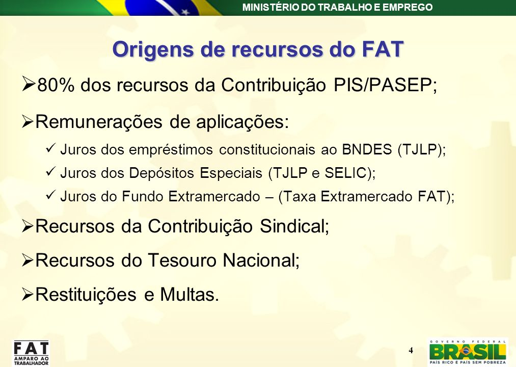 Origens de recursos do FAT