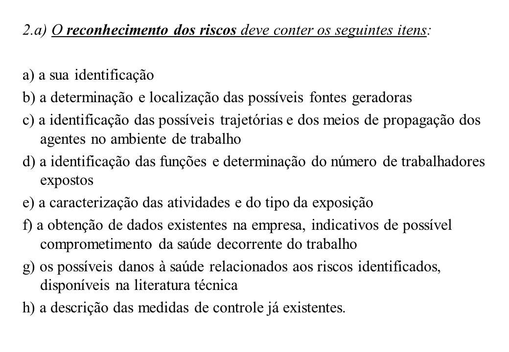 2.a) O reconhecimento dos riscos deve conter os seguintes itens: