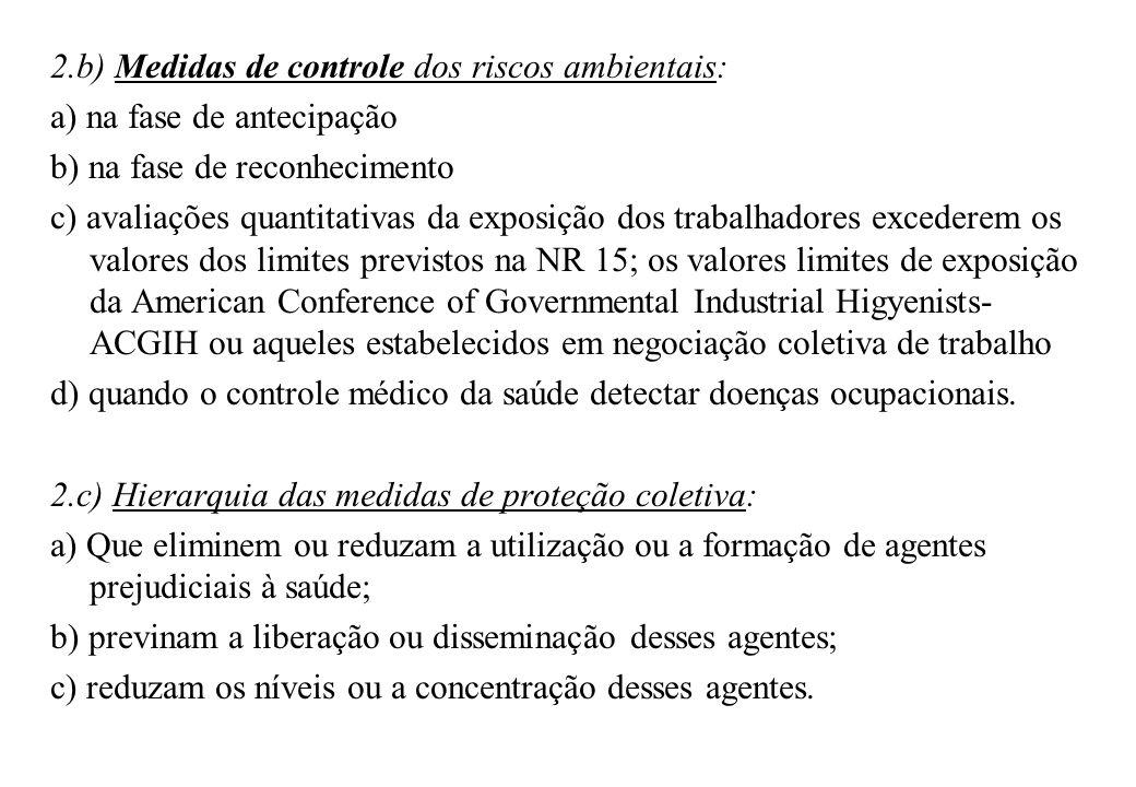 2.b) Medidas de controle dos riscos ambientais:
