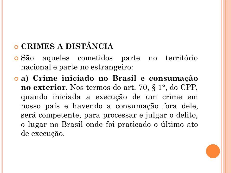CRIMES A DISTÂNCIA São aqueles cometidos parte no território nacional e parte no estrangeiro: