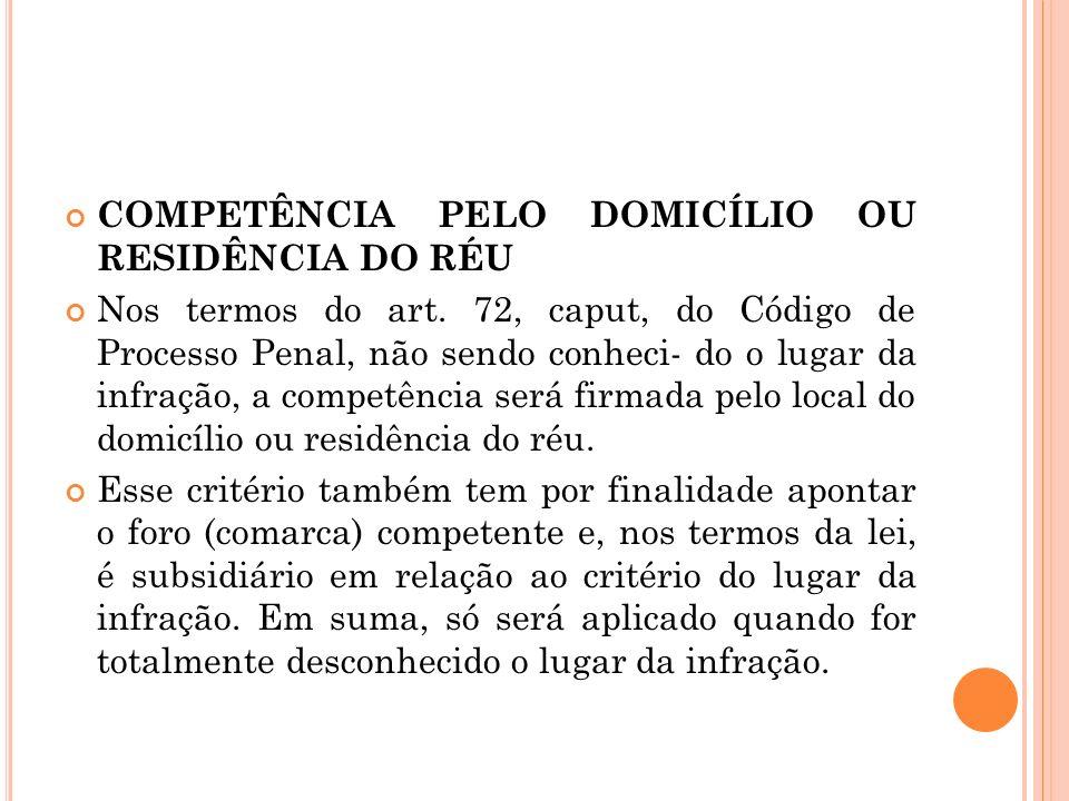 COMPETÊNCIA PELO DOMICÍLIO OU RESIDÊNCIA DO RÉU