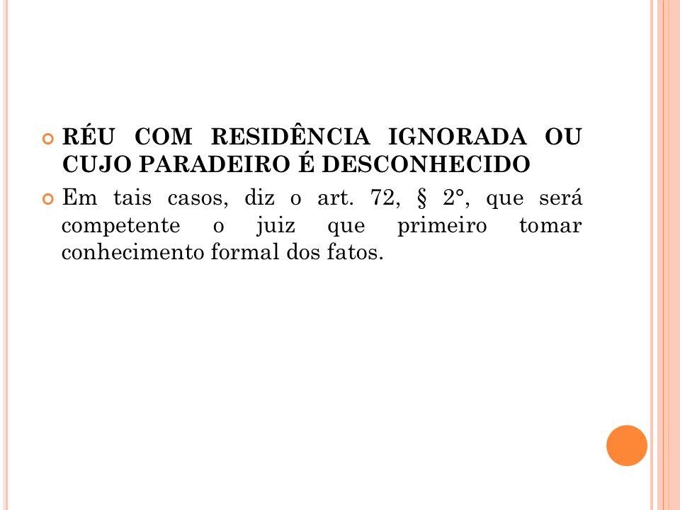 RÉU COM RESIDÊNCIA IGNORADA OU CUJO PARADEIRO É DESCONHECIDO