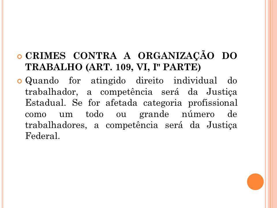 CRIMES CONTRA A ORGANIZAÇÃO DO TRABALHO (ART. 109, VI, I PARTE)